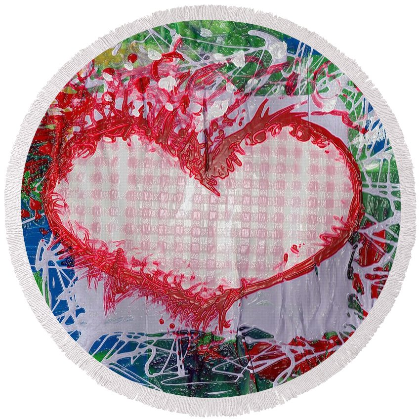 Heart Round Beach Towel featuring the painting Gingham Crazy Heart Shrink Wrapped by Genevieve Esson
