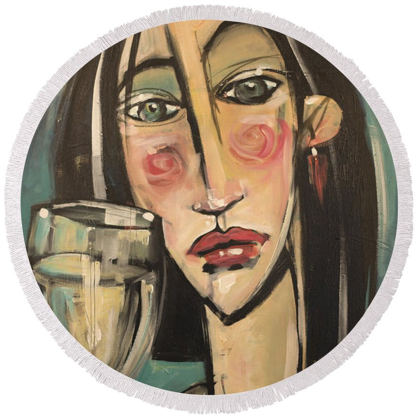 Girl Round Beach Towel featuring the painting Gingham Girl With Wineglass by Tim Nyberg