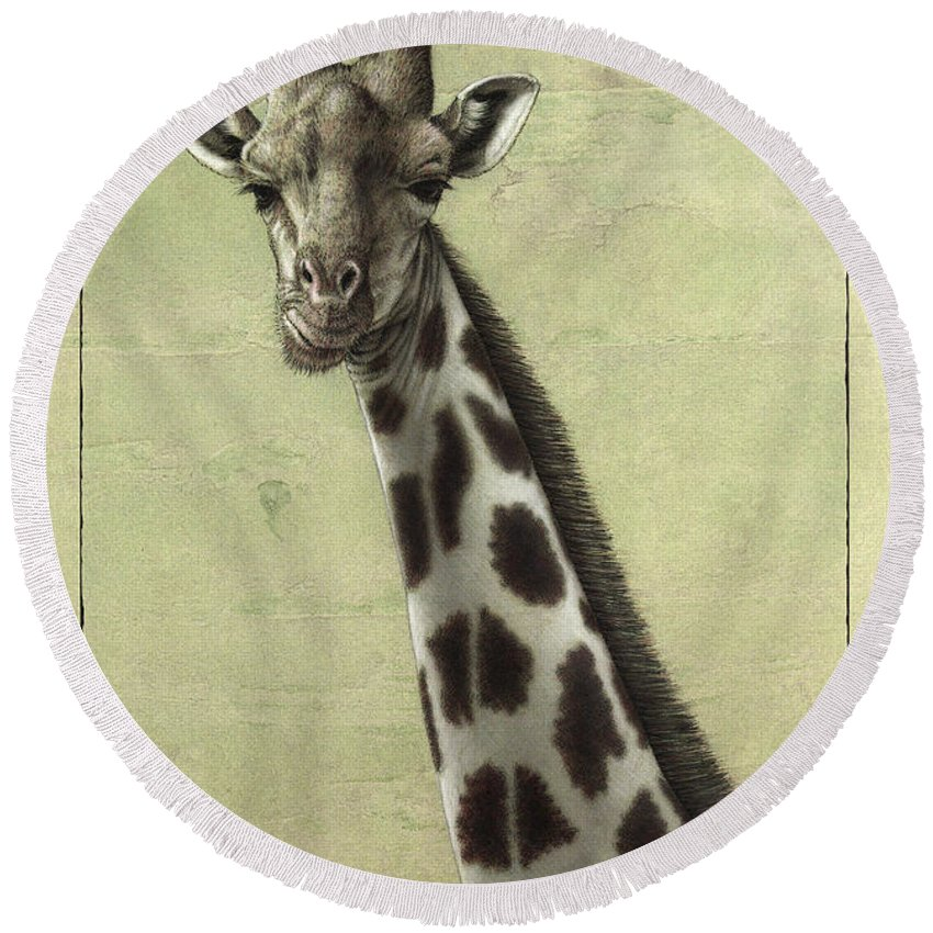 Giraffe Round Beach Towel featuring the painting Giraffe by James W Johnson