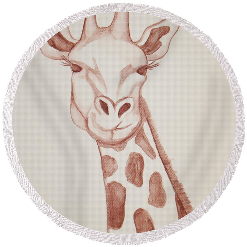Rick Huotari Round Beach Towel featuring the painting Giraffe by Rick Huotari