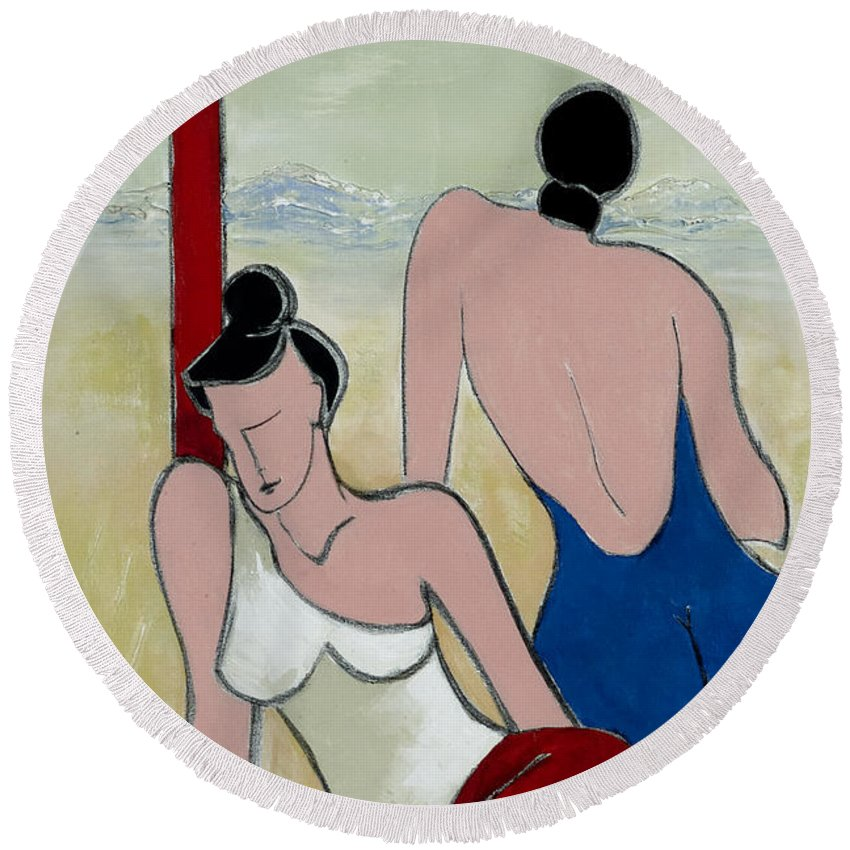 Peaceful Round Beach Towel featuring the painting Girl Friends by Elisabeta Hermann
