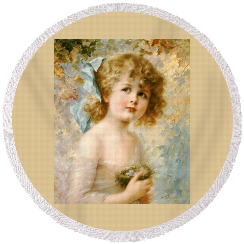 Emile Vernon Round Beach Towel featuring the digital art Girl Holding A Nest by Emile Vernon