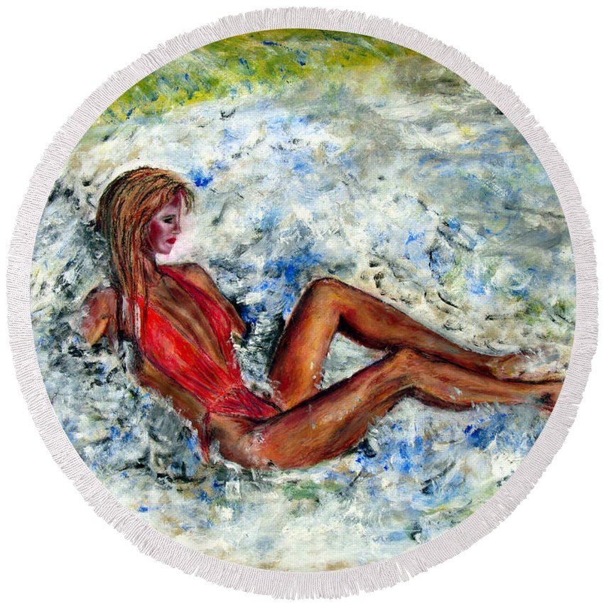 Girl Round Beach Towel featuring the painting Girl in a red Swimsuit by Tom Conway
