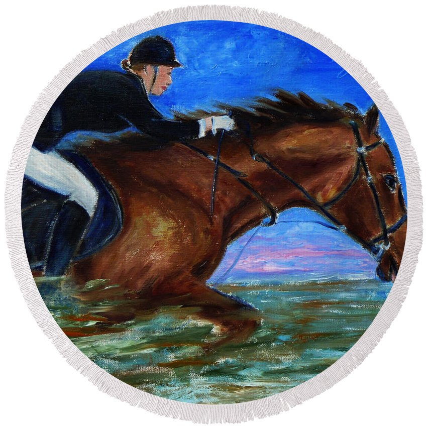 Equine Round Beach Towel featuring the painting Girl Riding Her Horse II by Xueling Zou