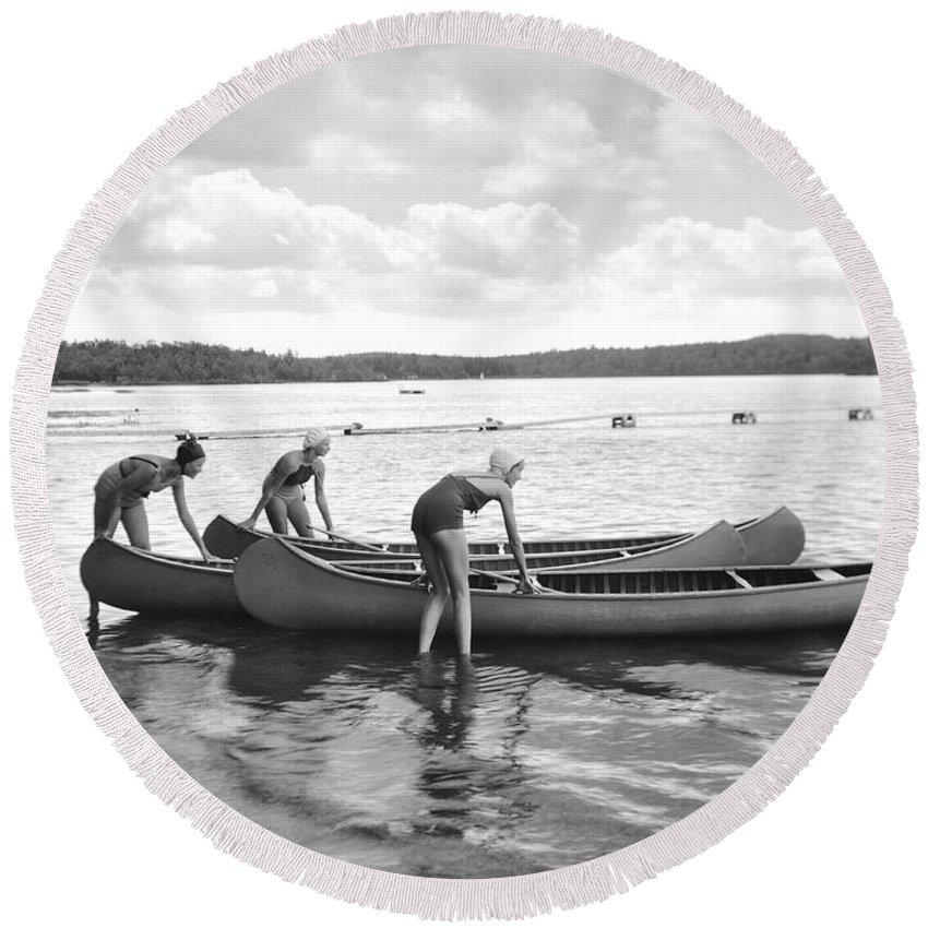 1920s Round Beach Towel featuring the photograph Girl Scout Canoe Test by Underwood Archives