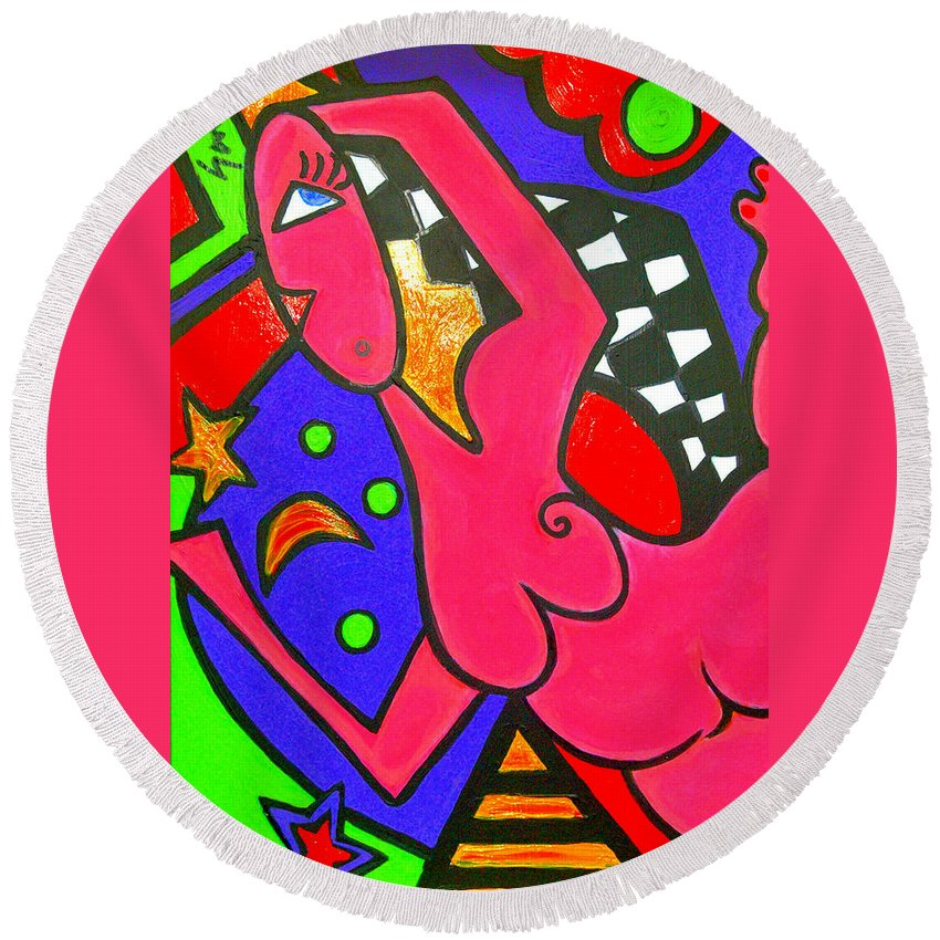 Colorful Abstract Painting Of A Nude Woman Round Beach Towel featuring the painting Girl With A Dimple by Sandra Childs Seymour