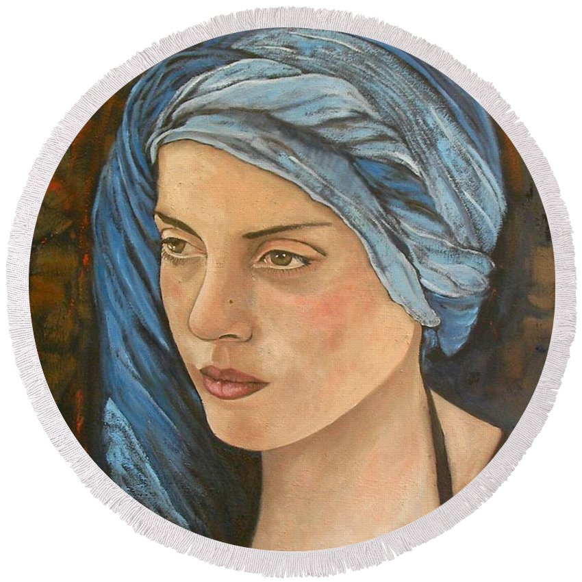 Girl Round Beach Towel featuring the painting Girl With Turban by Giosi Costan