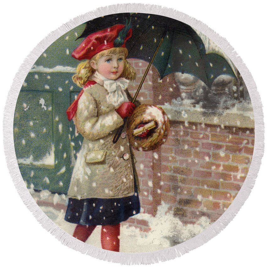 Advertising Round Beach Towel featuring the painting Girl With Umbrella In A Snow Shower by American School