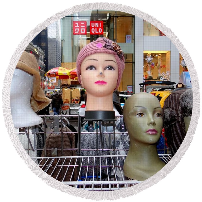 Mannequins Round Beach Towel featuring the photograph Girls In Hats by Ed Weidman