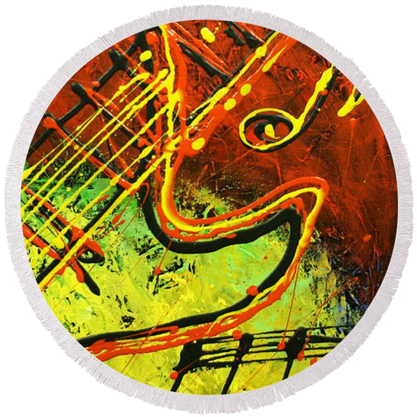Paintings Paintings Round Beach Towel featuring the painting Gitar by Leon Zernitsky