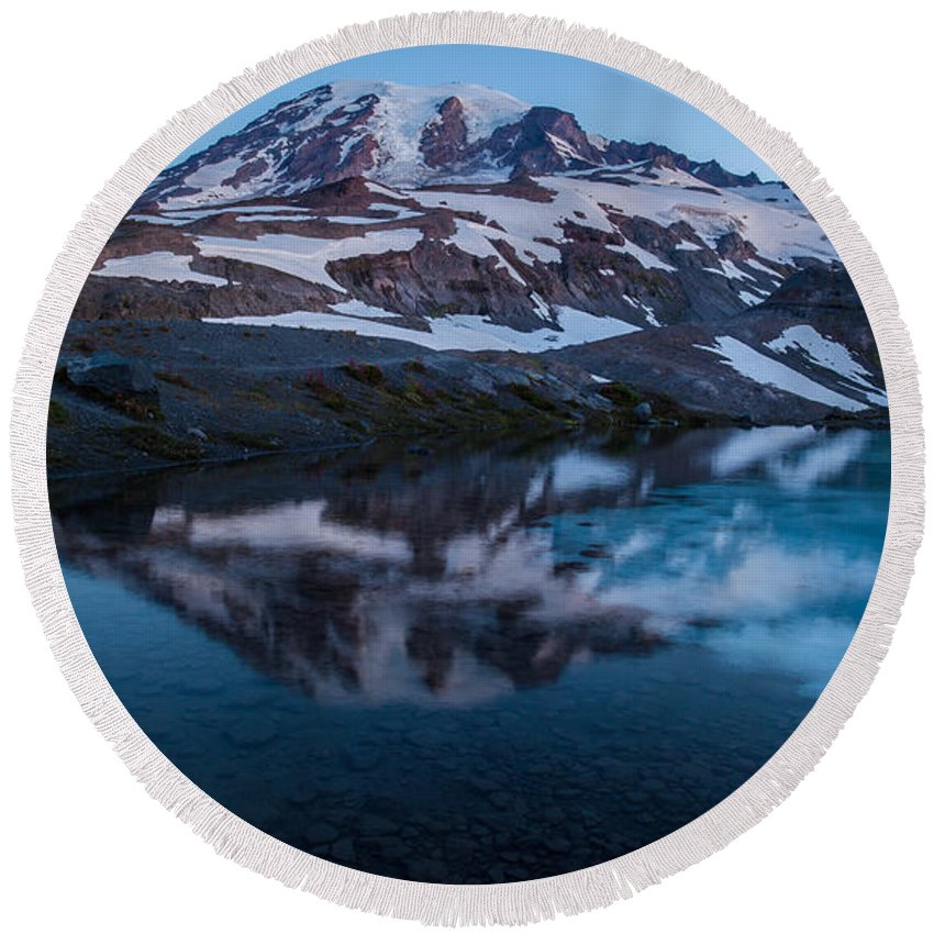 Rainier Round Beach Towel featuring the photograph Glacial Rainier Morning Reflection by Mike Reid
