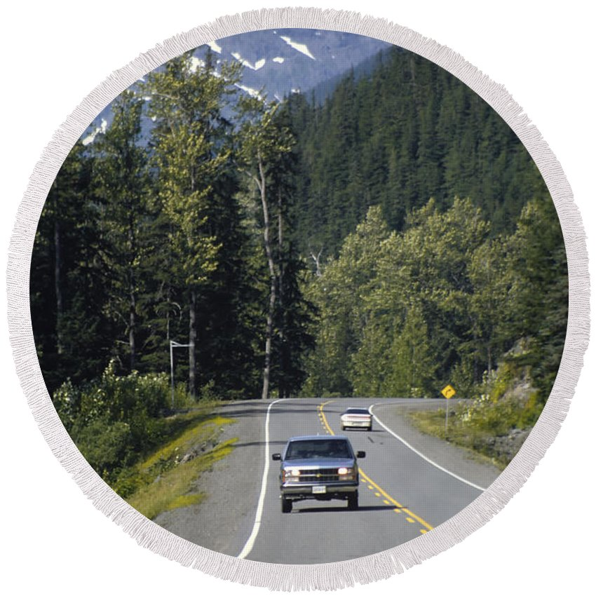 British Columbia Round Beach Towel featuring the photograph Glacier Highway by Roderick Bley