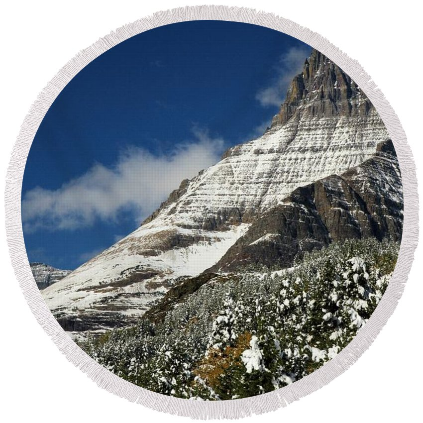 Mt Wilbur Round Beach Towel featuring the photograph Glacier Mountains by Adam Jewell