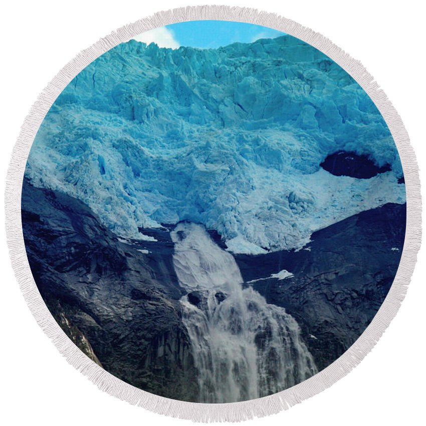 Glacier Waterfall Round Beach Towel featuring the photograph Glacier Waterfall by Tap On Photo