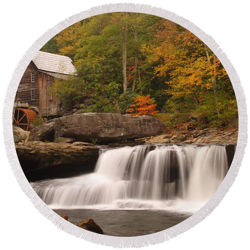 Glade Round Beach Towel featuring the photograph Glade Creek Grist Mill 10 by John Brueske