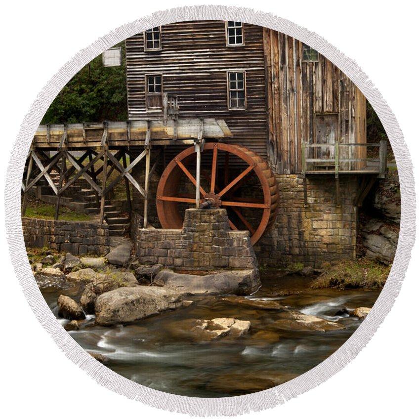 Glade Creek Grist Mill Round Beach Towel featuring the photograph Glade Creek Grist Mill by Anthony Totah