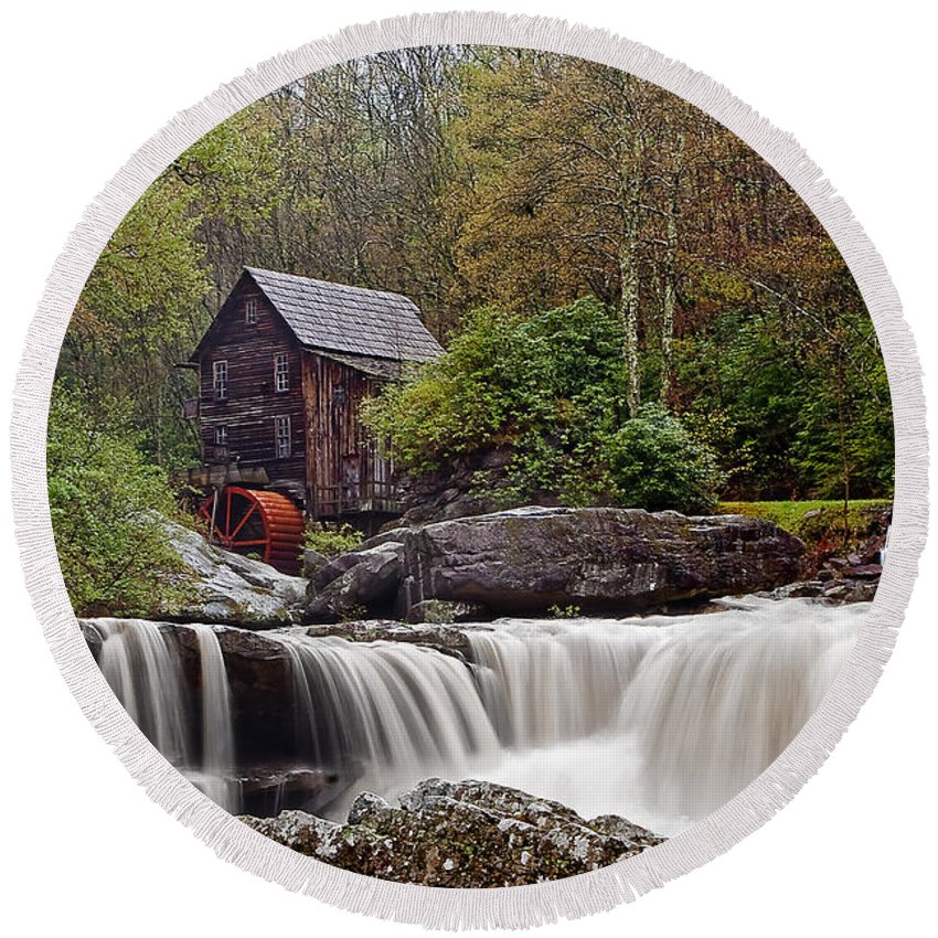 Grist Mill Round Beach Towel featuring the photograph Glade Creek Waterfall by Marcia Colelli