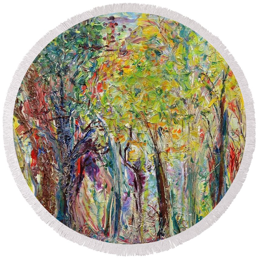 Glade Round Beach Towel featuring the painting Glade by Regina Valluzzi