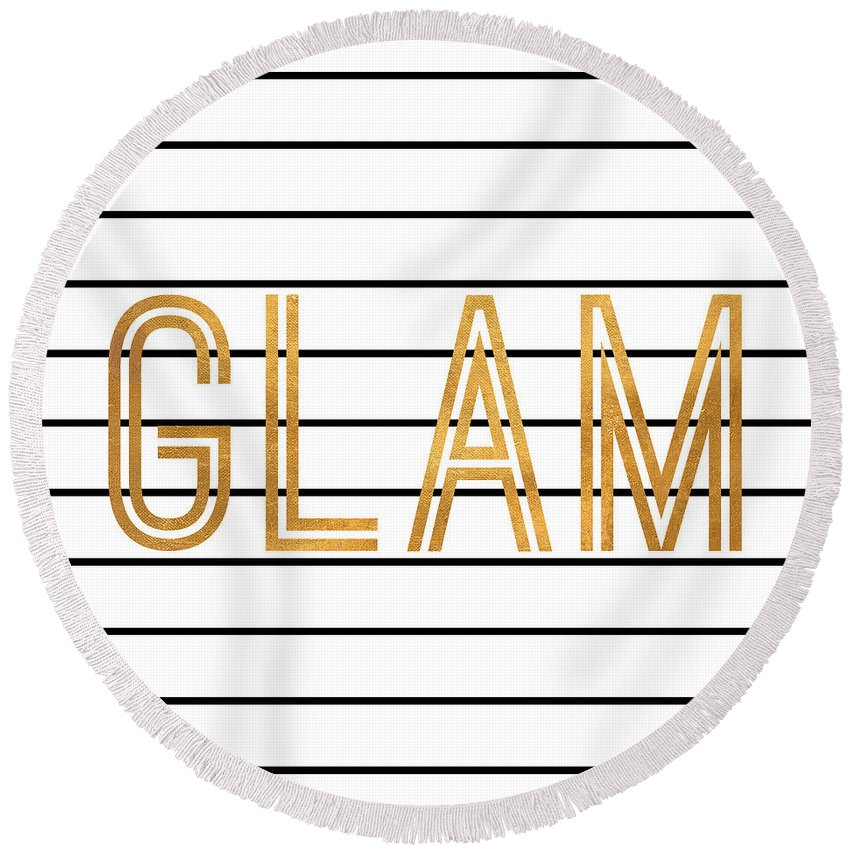 Glam Round Beach Towel featuring the digital art Glam Pinstripe Gold by South Social Studio