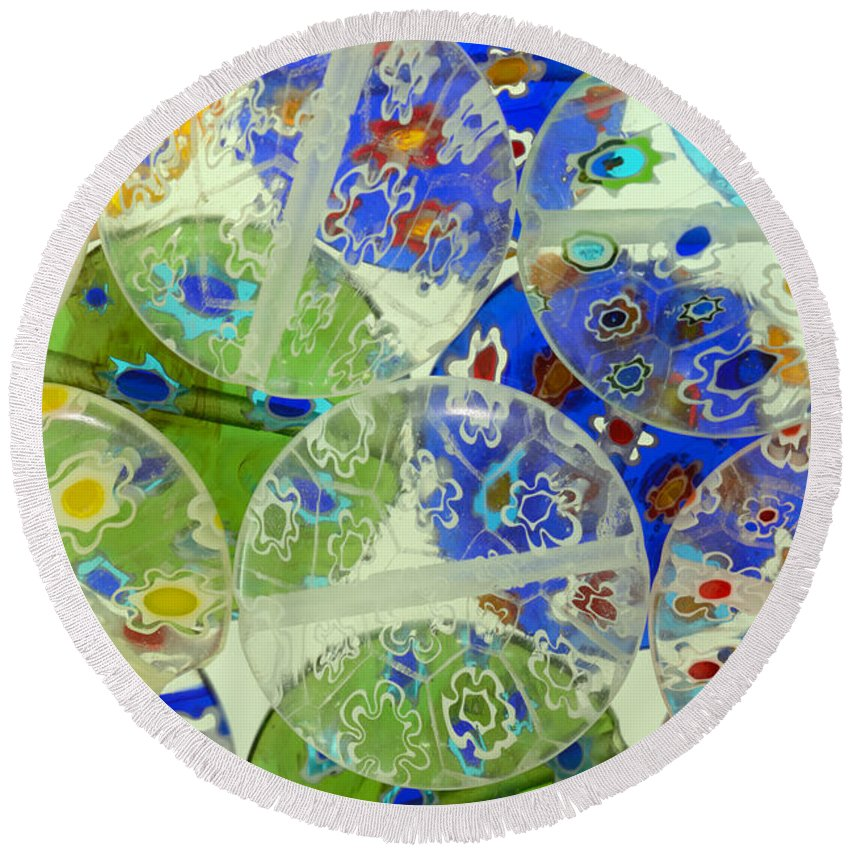 Abstract Round Beach Towel featuring the photograph Glass Beads Abstract by Grigorios Moraitis