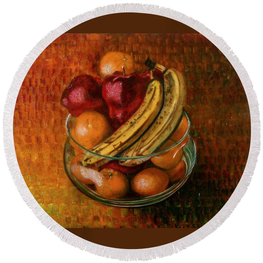 Still Life Round Beach Towel featuring the painting Glass Bowl Of Fruit by Sean Connolly