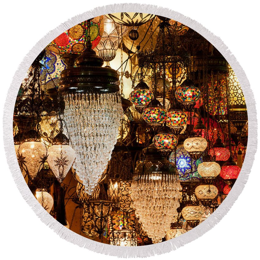 Istanbul Round Beach Towel featuring the photograph Glass Lanterns 07 by Rick Piper Photography