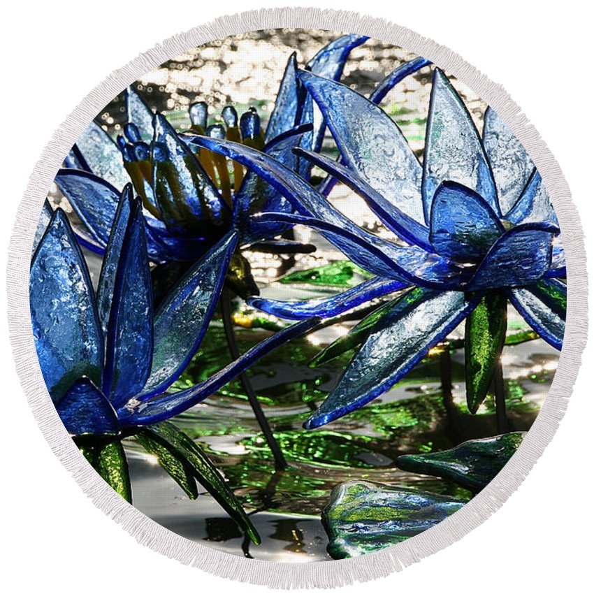 Glass Round Beach Towel featuring the photograph Glass Lilies by Susan Herber