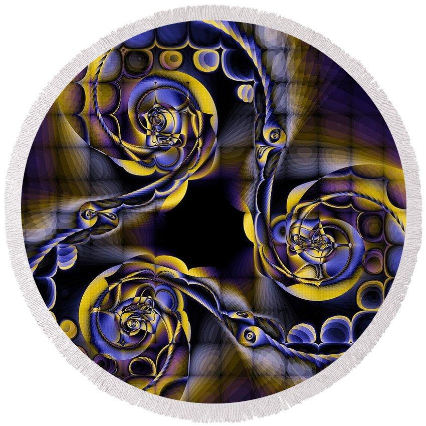 Spiral Round Beach Towel featuring the digital art Glass Spirals by Elizabeth McTaggart