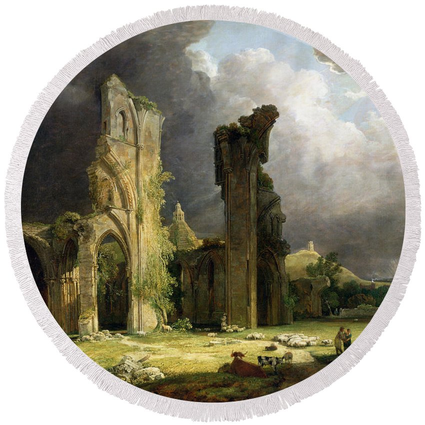 Ruins Round Beach Towel featuring the painting Glastonbury Abbey With The Tor by George Arnald