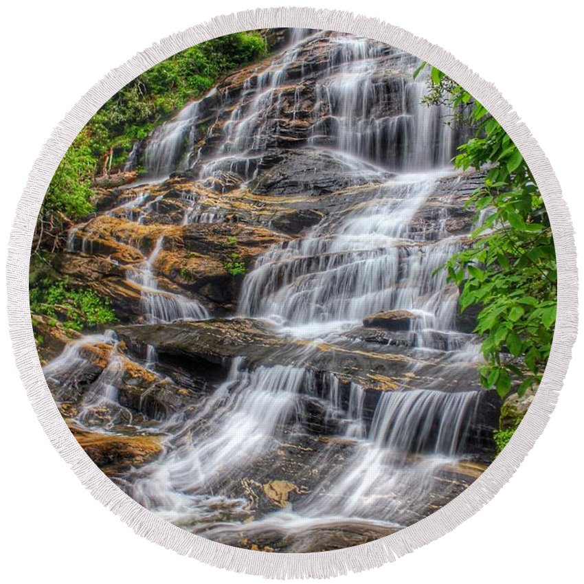 Glen Falls Round Beach Towel featuring the photograph Glen Falls by Chris Berrier