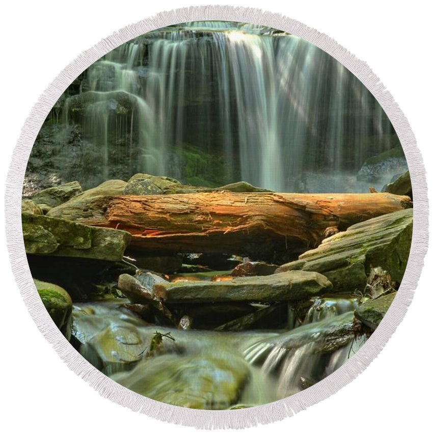 Ricketts Glen Waterfalls Round Beach Towel featuring the photograph Glen Leigh River Rocks And Falls by Adam Jewell