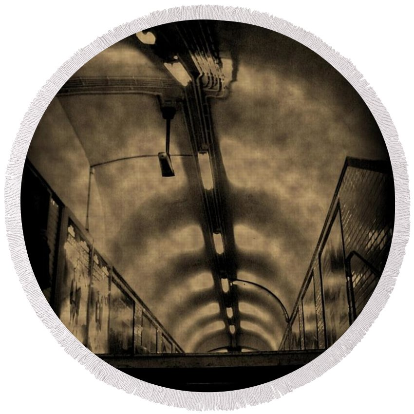 Subway Round Beach Towel featuring the photograph Gloom by John Malone