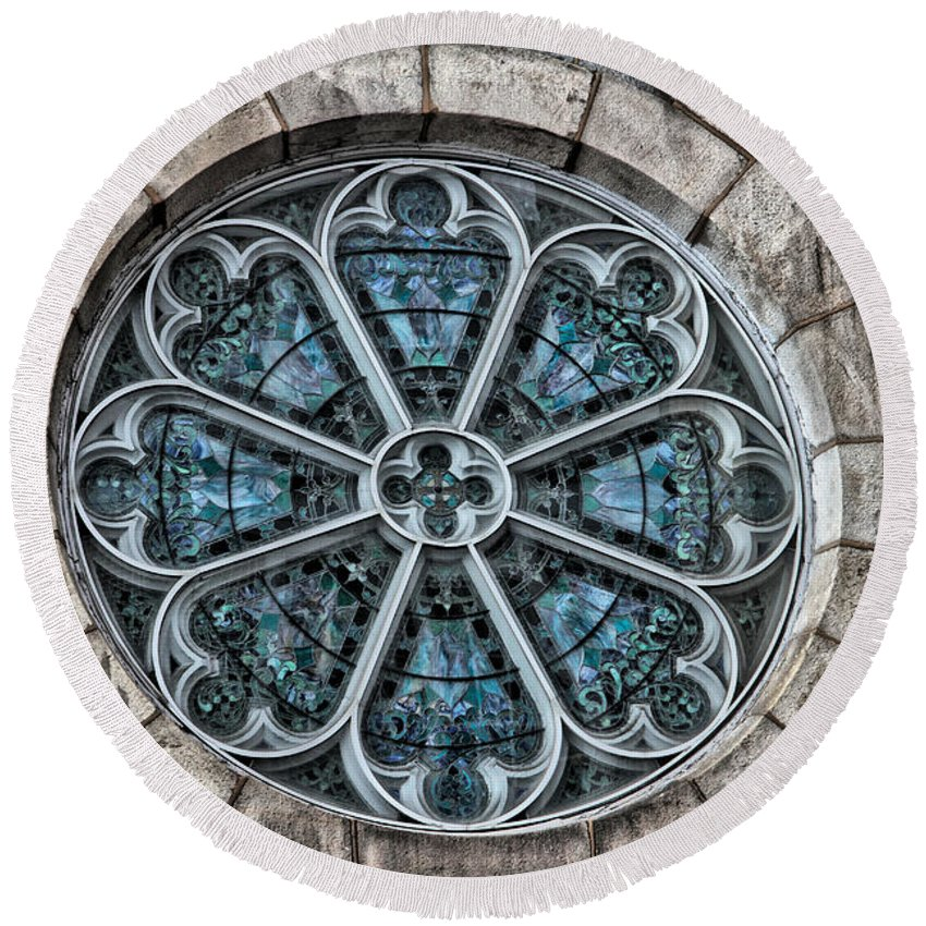 Germantown Round Beach Towel featuring the photograph Glorious Church Stained Glass by Alice Gipson