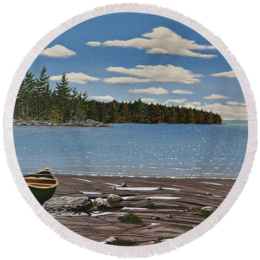 Landscapes Round Beach Towel featuring the painting Glorious Day by Kenneth M Kirsch