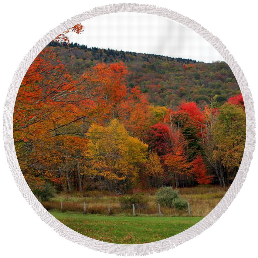 Fall Round Beach Towel featuring the photograph Glorious Fall Leaves by Laurel Talabere