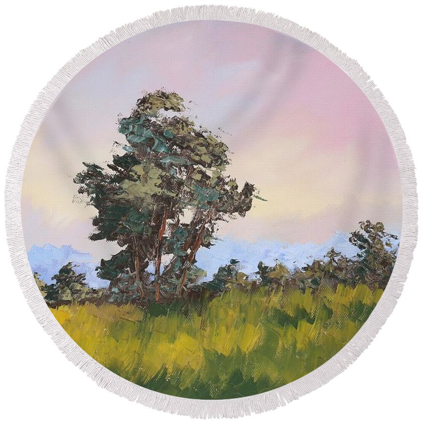 Tree Round Beach Towel featuring the painting Glory by Andrew Sanan