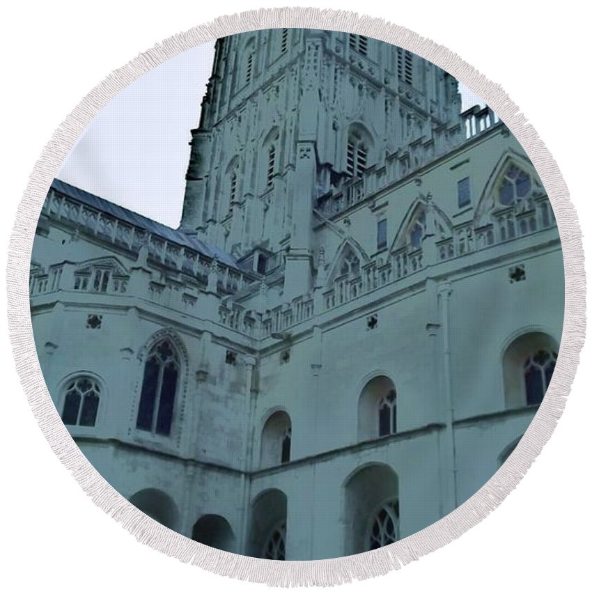 Gloucester Cathedral Round Beach Towel featuring the photograph Gloucester Cathedral by John Williams