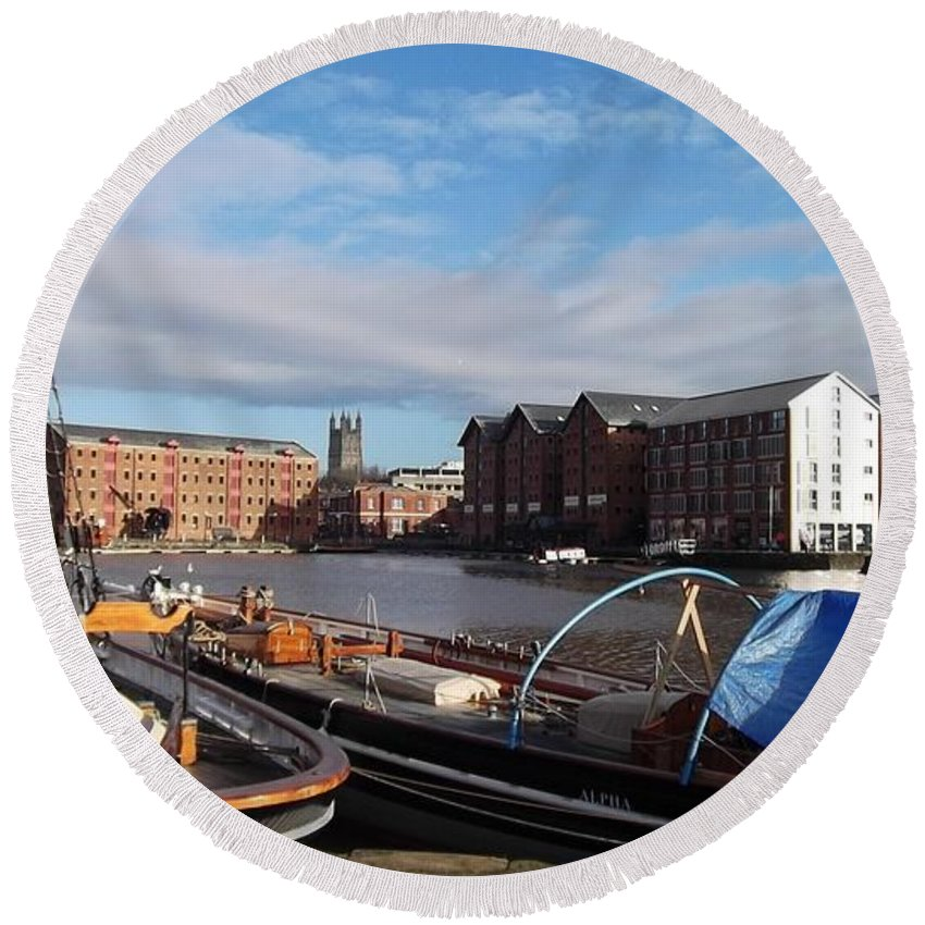 Gloucester Docks Round Beach Towel featuring the photograph Gloucester Historic Docks by John Williams