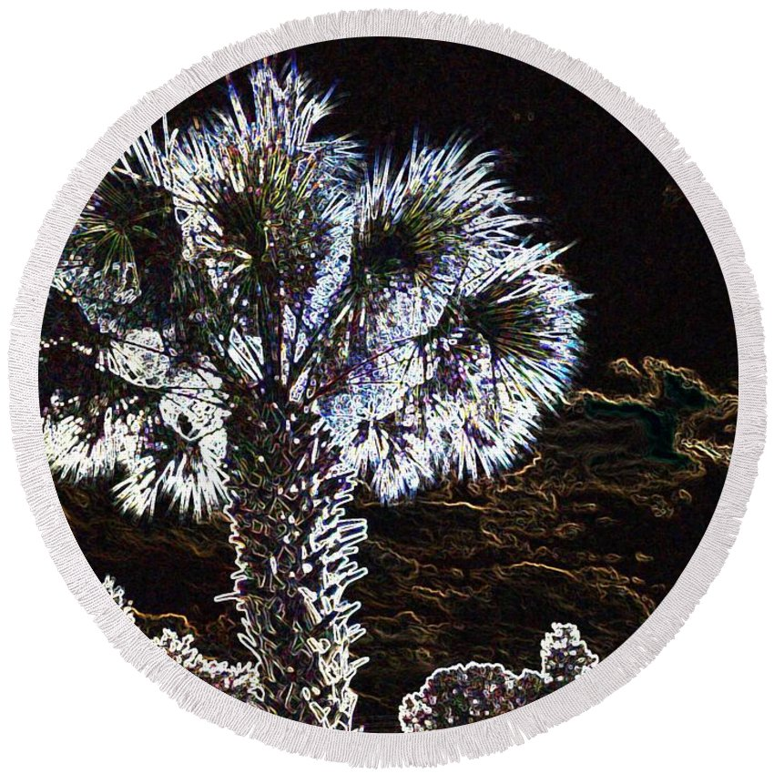Palm Round Beach Towel featuring the painting Glowing Palm by George Pedro