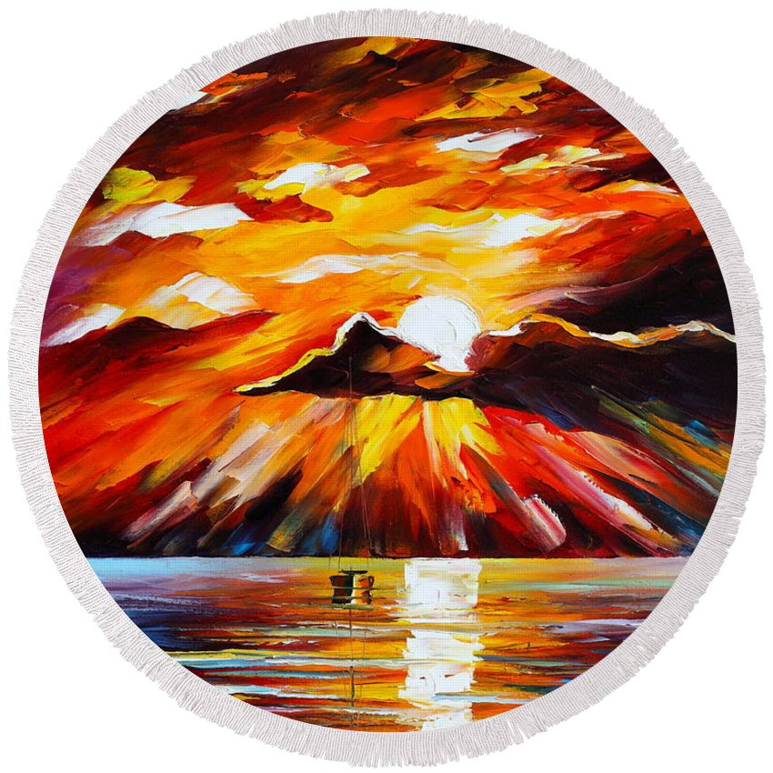 Sea Round Beach Towel featuring the painting Glowing Sun by Leonid Afremov