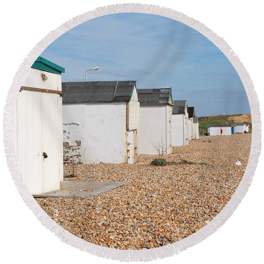 Beach Round Beach Towel featuring the photograph Glyne Gap Beach Huts In Sussex by David Fowler