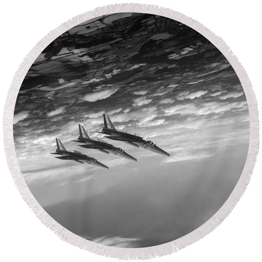 Folland Gnat Round Beach Towel featuring the digital art Gnats Inverted Black And White Version by Gary Eason
