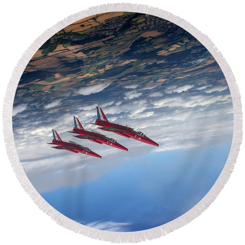 Folland Gnat Round Beach Towel featuring the digital art Gnats Inverted by Gary Eason