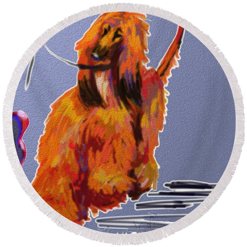 Afghan Hound Round Beach Towel featuring the painting Go Red Go by Terry Chacon