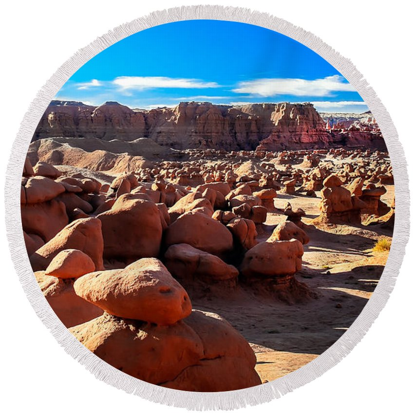 Goblin Valley Round Beach Towel featuring the photograph Goblin Valley by Robert Bales