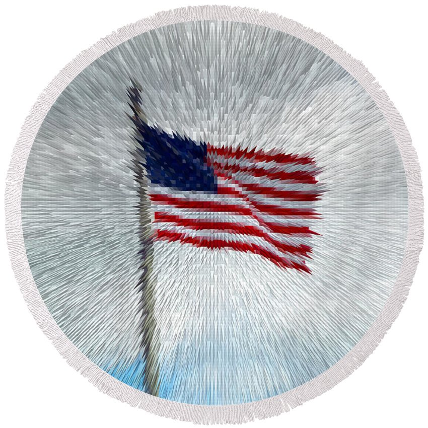 America Round Beach Towel featuring the photograph God Bless America by Alys Caviness-Gober