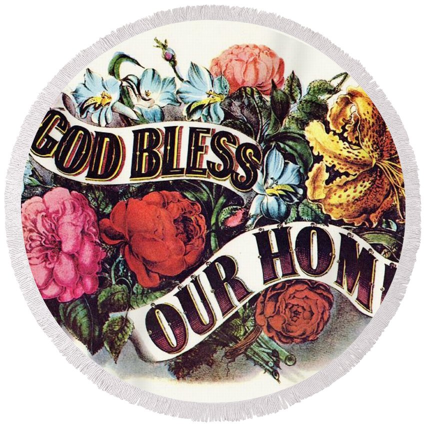 Currier & Ives Round Beach Towel featuring the digital art God Bless Our Home by Currier and Ives