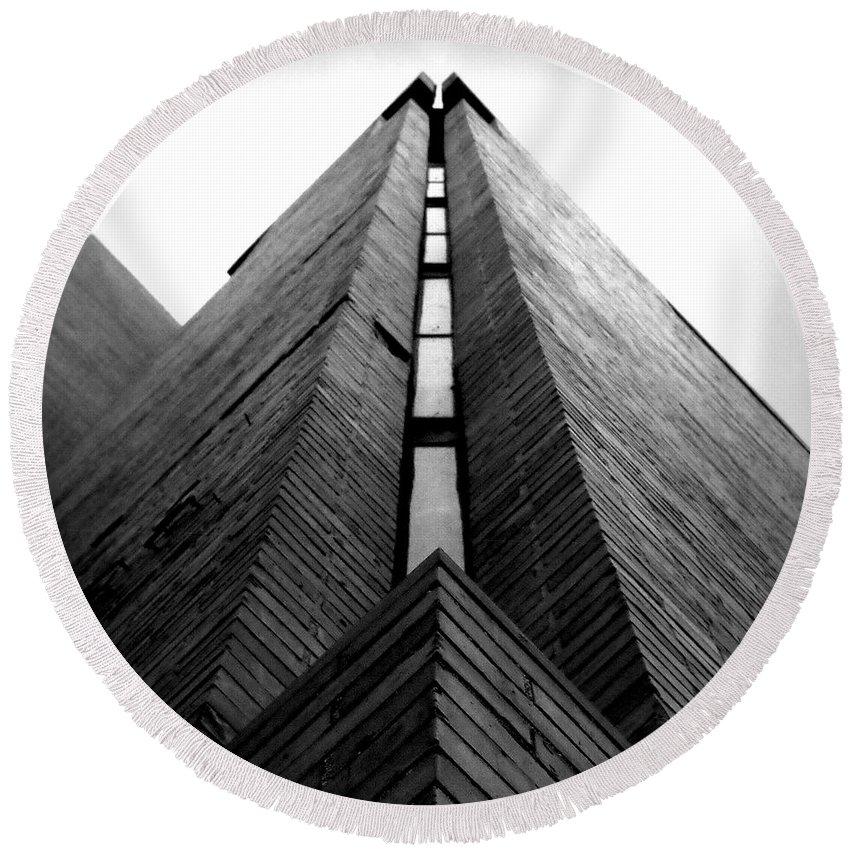 Joseph Skompski Round Beach Towel featuring the photograph Goddard Stair Tower - Black And White by Joseph Skompski