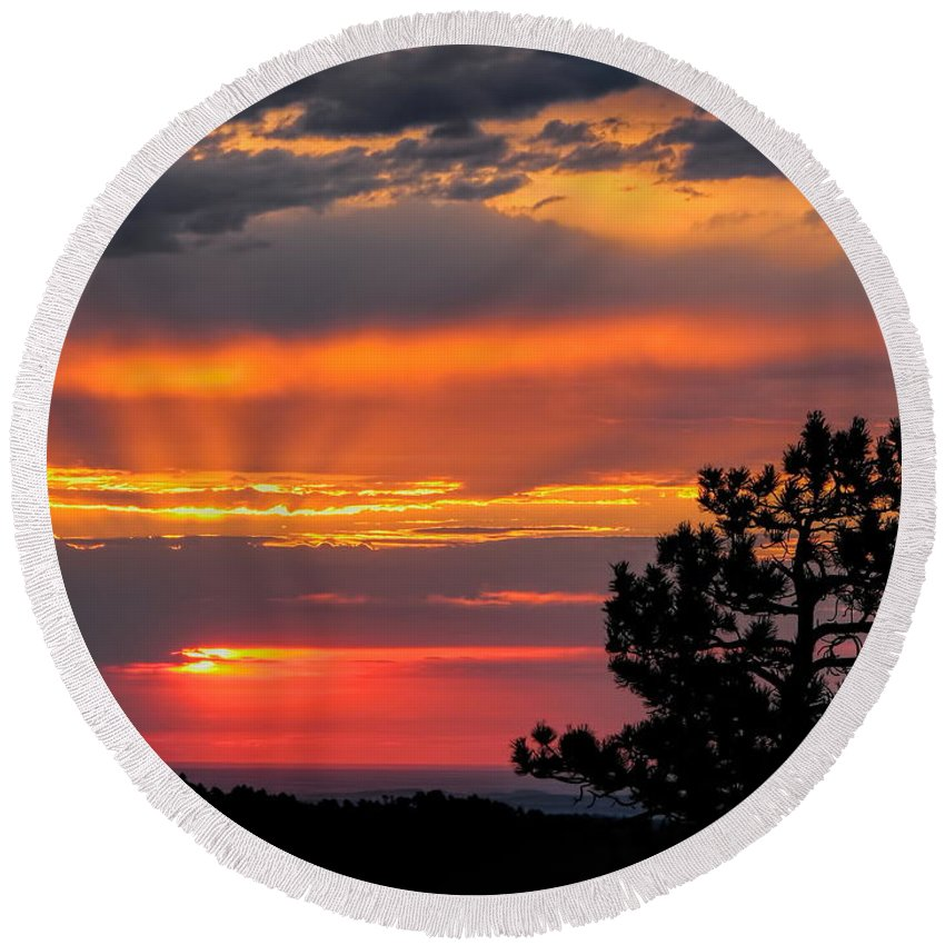 Sunrise Round Beach Towel featuring the photograph God's Spotlight Over Keystone by Dale Kauzlaric