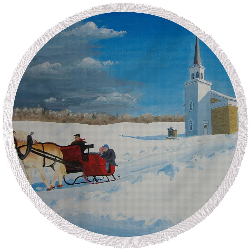 Winter Round Beach Towel featuring the painting Going Home From Church by Norm Starks